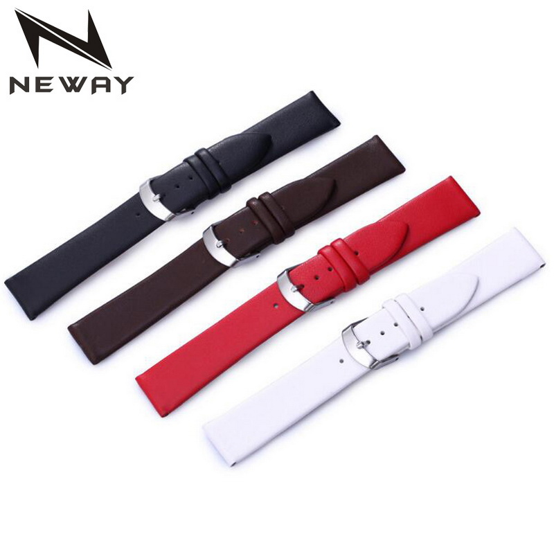 neway  Leather Watch Band Wrist Strap 12 14 16 18 20 22mm Steel Buckle Replacement Bracelet Belt Black Brown Red White