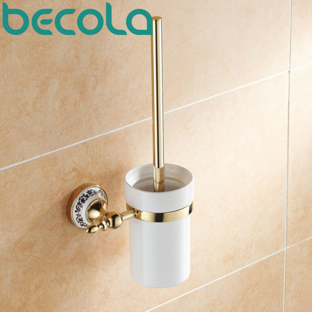 Becola Gold Plated Finish Toilet Brush Holder Bathroom Accessories Br Ceramic Cup