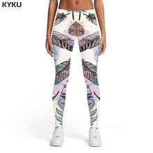 KYKU Brand Feather Leggings Women Harajuku Elastic Colorful Ladies Graffiti Sexy Art Trousers Womens Pants Casual