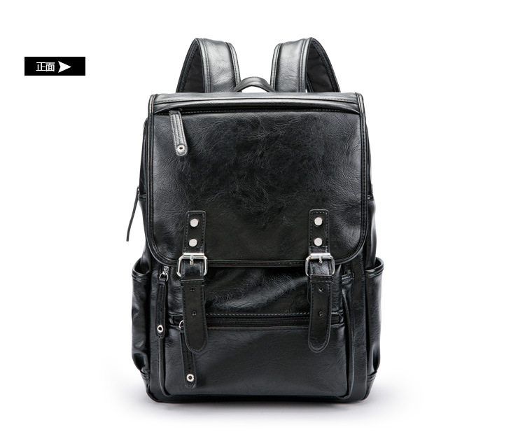 Retro Men Pu Leather Backpack Travel Bags Male College School Laptop Bags Rucksack Mochila Masculina