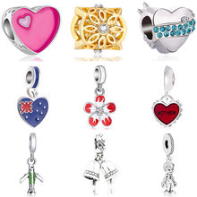 Low Price Baby Girl Boy Shoe Hearts Bell Horse Flowers Beads Charms Fit Original Pandora Bracelets fpr Women Night Club DIY Gift(China)