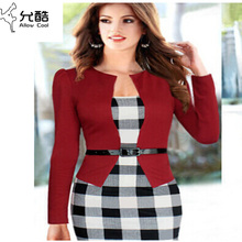 2015 Women Elegant Belted Tartan Long Sleeve Patchwork Tunic Work Business Casual Party Pencil Sheath Dress