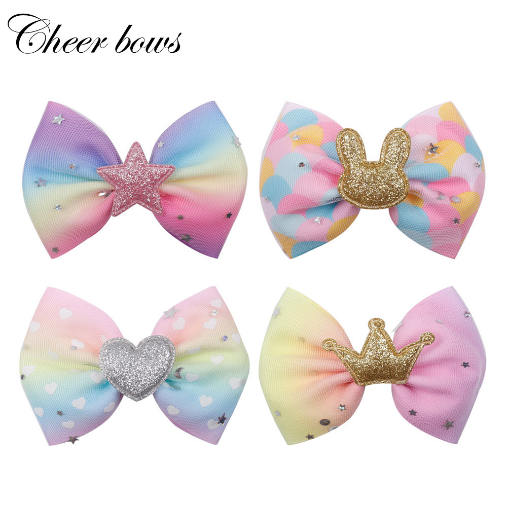 "1pcs Kids Large 8/"" Unicorn Pony Ribbon Rainbow Hairgrip Hair Bow clips For Girls"
