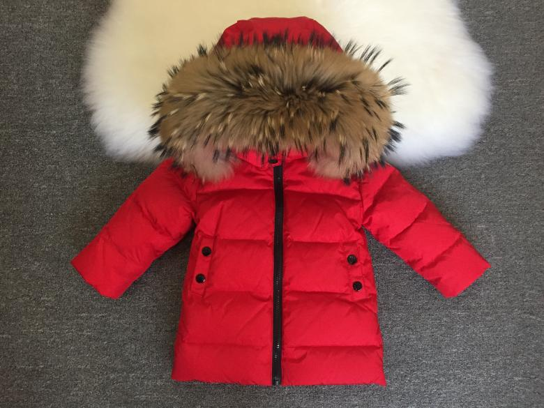 Russia winter baby boy warm clothing middle long girl overcoat real raccoon fur collar hooded down