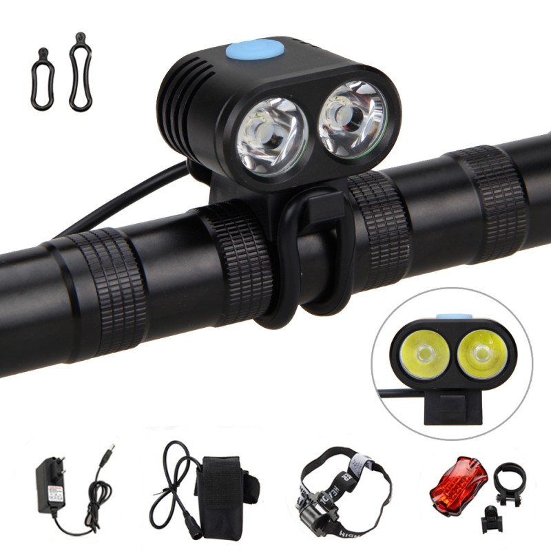 5000 Lumens Bicycle Light 2 x XM-L2 LED Lamps 5 Modes Bike Headlight with 18650 Rechargeable Battery+ Rear Light+Charger 18000 lumens bike headlamp flashlight 9x cree xm l2 led bicycle light cycling helmet headlight 18650 battery pack charger