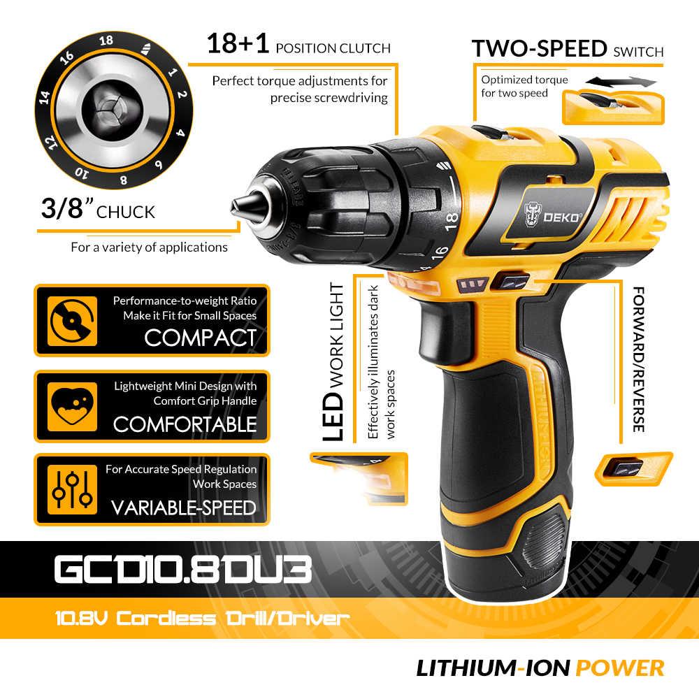 DEKO GCD10.8DU3 10.8-Volt Cacciavite Elettrico Trapano a batteria Mini Senza Fili di Alimentazione del Driver di CC Batteria Agli Ioni di Litio 10 millimetri 2-velocità