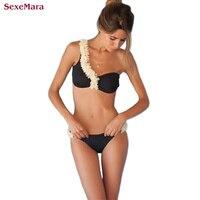 SexeMara Sexy One Shoulder Bikini Floral Bikini Set Women Swimsuit Push Up Bikinis Beachwear Brazilian Maillot