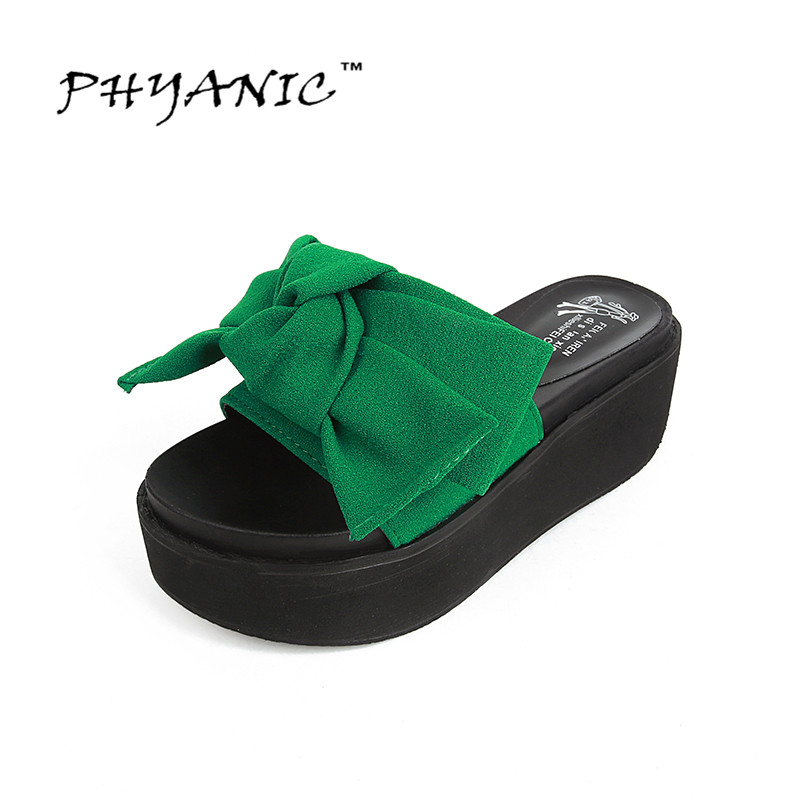 PHYANIC 2017 Fashion Women Sandals Butterfly Knot Summer Flats Sandals Wedges Flip Flops Platform Slippers Shoes Woman PHY2008 phyanic 2017 gladiator sandals gold silver shoes woman summer platform wedges glitters creepers casual women shoes phy3323