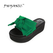 phyanic 2017 fashion women sandals butterfly knot summer flats sandals wedges flip flops platform slippers shoes woman phy