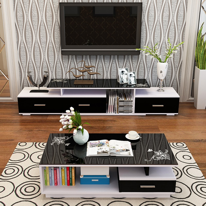 Cheap Home Plate Glass Coffee Table Living Room TV Cabinet