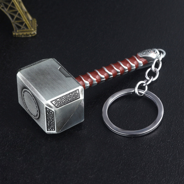 RJ The Avengers 4 Thor Hammer Metal Keychains The Dark World Weapon Iron Man Keyring For Women Movie Fans Jewelry Accessories 3