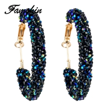 FAMSHIN Brand New Design Fashion Charm Austrian crystal hoop earrings Geometric Round Shiny rhinestone big earring jewelry women