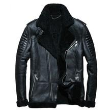 Фотография 2018 Black Men Biker Shearling Leather Coat Plus Size 4XL Genuine Sheepskin Winter Thick Russian Shearling Jacket FREE SHIPPING