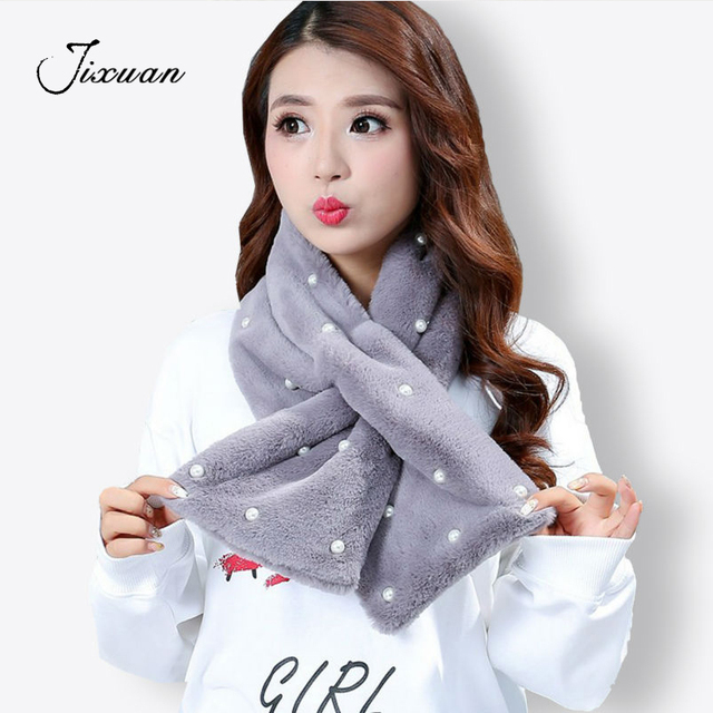 c894a7838a9f6 High Quality Soft Warm Thick Faux Fur Women Scarf New Winter Luxury Brand Shawls  Scarves Rabbit Hair Pearl Ring Scarf 100*20CM