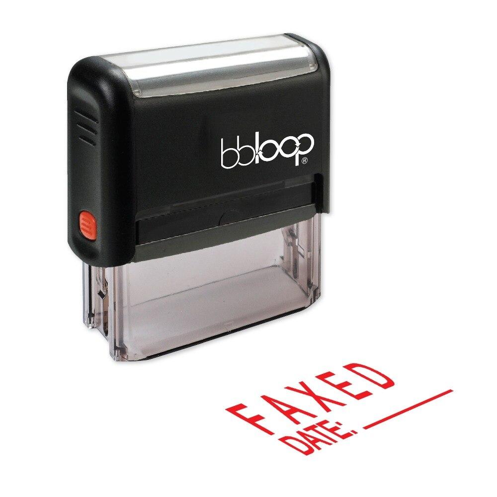 BBloop по факсу W/линии для дата самостоятельно штемпеля, прямоугольные, лазерной гравировкой, красный