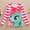 Envío gratis nuevas chicas de manga larga Camiseta de algodón pony bao li historieta impresa tutú de la manera de rayas de cuello redondo T-shirt PD1120