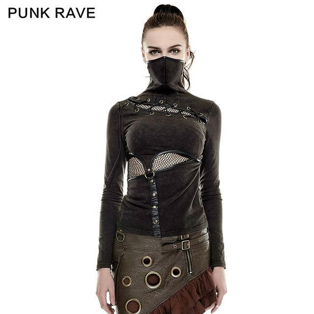2016 nova Punk Rock preto marrom cor de verão camisa de estilo máscara de S L XXL