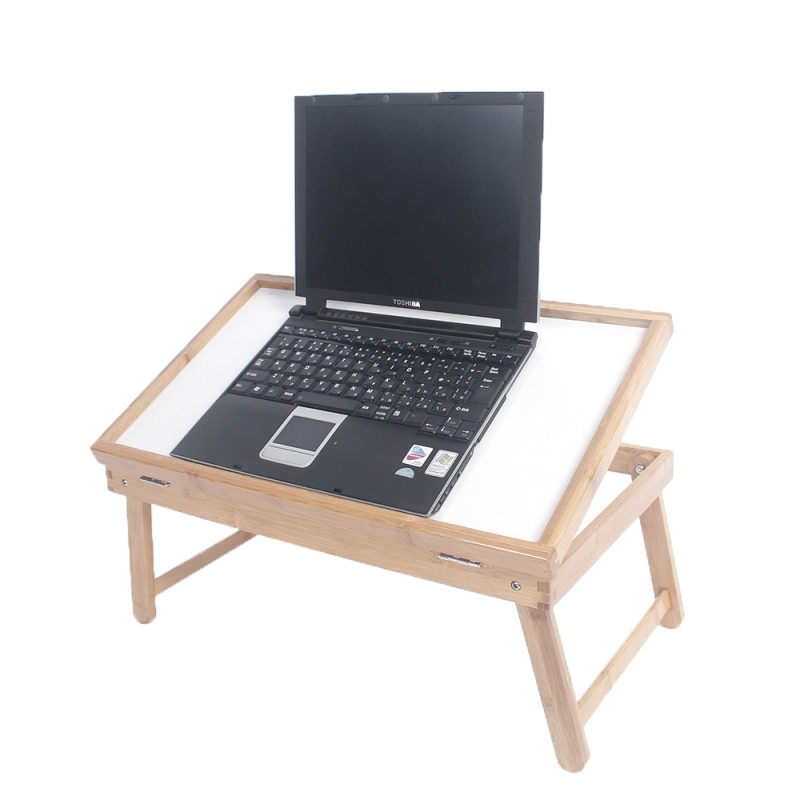 Tenozek Bamboo Folding Adjustable Laptop Desk Bed Table Folding Laptop Notebook Table Bed Desk Tray Stand Furniture - US Stock(China)