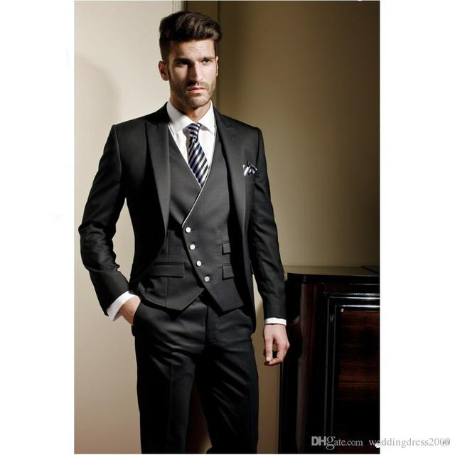 d89137b2bf4 Latest Coat Pant Designs Black Satin Men Suits Slim Fit Formal Custom Groom  Prom Party Tuxedo 3 Piece Blazer Jacket Men Ternos Z