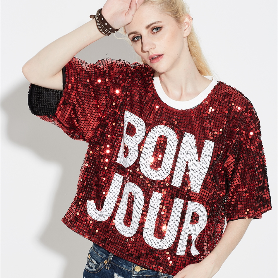 Detail Feedback Questions about BON JOUR Women s Hip Hop Street Dance Jazz  Pub Bars Costumes Loose Oversized Letter Sequins Paillette Boxy T Shirt Top  Tee ... ba575387635b
