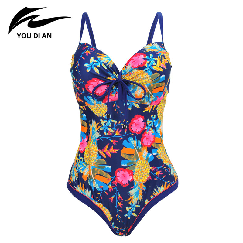 New Sexy Plus Size Swimwear Women One Piece Swimsuit Printed Bathing Suits Women Summer Beachwear Sportwear Swimming suit 2017 new one piece swimsuit women vintage bathing suits halter top plus size swimwear sexy monokini summer beach wear swimming