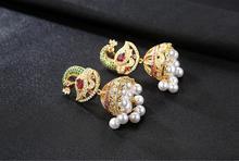 Imitation Pearl Multicolor Peacock Drop Earrings Jewelry