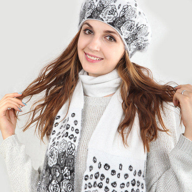 SUPANDAN Winter Wool Knitted Beanies Hat Scarf Set Double-deck Warm Thick Floral Scarf Hat For Girls High Quality Original 8462B
