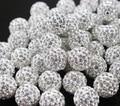 200 pçs/lote 10mm 6Row Branco Shamballa Beads Barro Pave Disco Strass Cristal Shamballa Beads Pulseira Neacklace jóias DIY