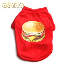 Abrrlo Funny Pets Dog Vest Back Hamburger Design Printed Dog shirt Cotton Dogs Clothes Summer 2018 Solid Pets Dogs Tshirts