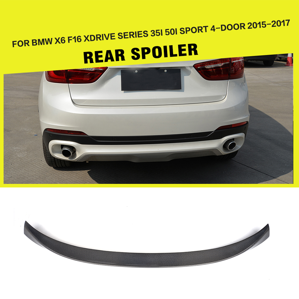 Car-Styling Carbon Fiber Auto Racing Trunk Rear Spoiler Lip Wing for BMW X6 F16 2015 2016 2017