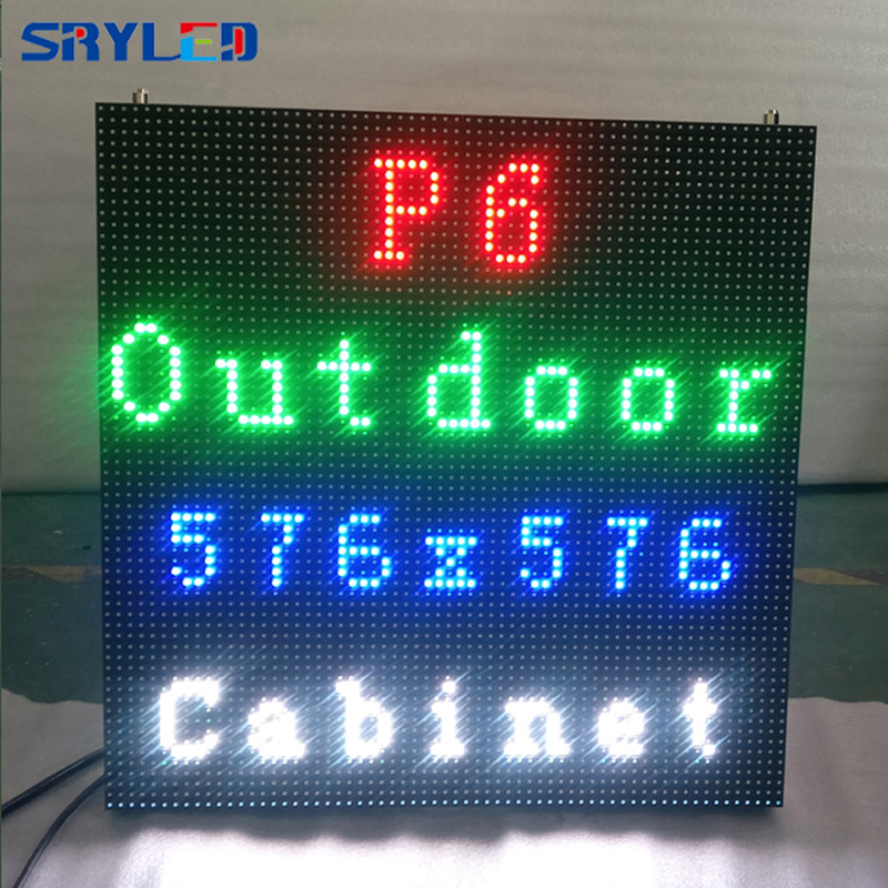 P6 96*96 pixels 576*576mm Die-cast Aluminum Cabinet Waterproof  RGB 3in1 Outdoor SMD Full color P6 LED display screen