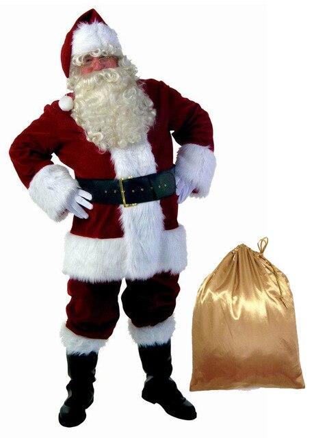 full set christmas costumes santa claus for adults red christmas clothes santa claus costume luxury suit - Christmas Clothes For Adults