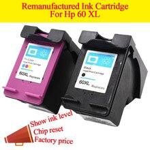 2PCS 60xl for HP 60 60xl remanufactured ink cartridge for HP Deskjet F4240 D2500 D2530 D2545 D2560 F4200 F4210 F4280 F4288 F4292