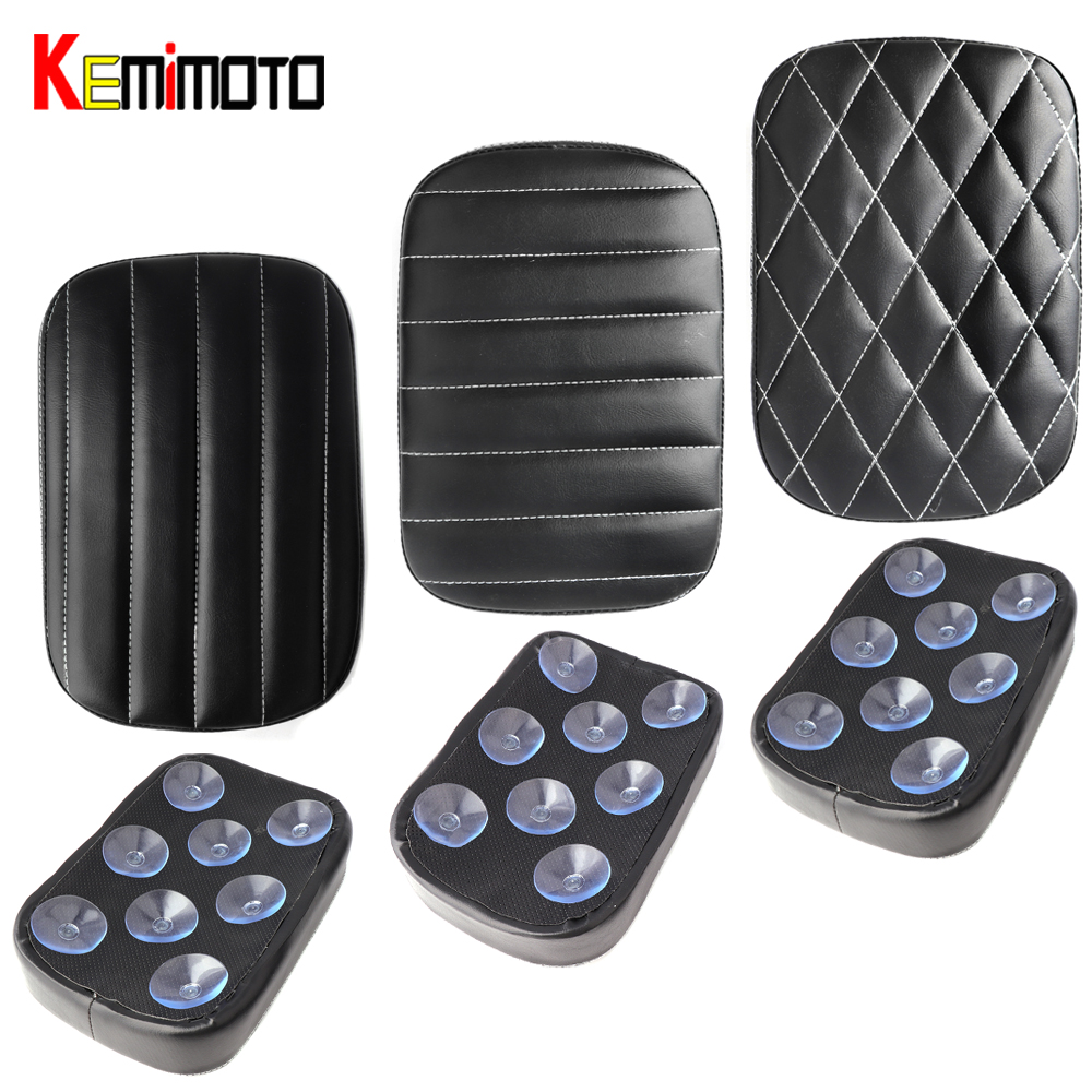 KEMiMOTO Pillion Pad Seat Rear Passenger Cushion 8 Suction Cups For Harley Dyna Sportster Softail Touring XL 883 Motorcycle