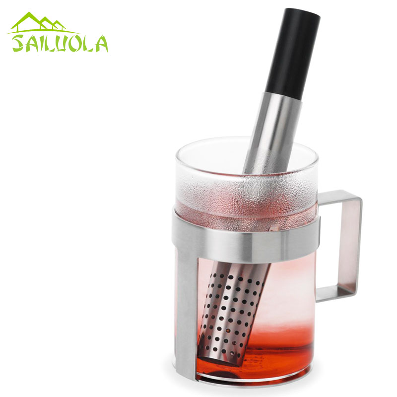 Stainless steel tea filter infuser tea stick the tea strainer device squeezer teapot accessories