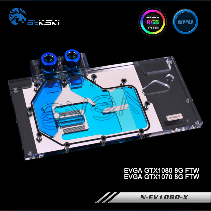 ftw glass10 Bykski N-EV1080-X Full Cover Graphics Card Water Cooling Block RGB/RBW/ARUA for EVGA GTX1080/1070 8G FTW