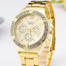 fashion casual watch golden Top Brand Luxury Stainless Steel Watch relojes mujer relogio feminino hombre geneva women wristwatch