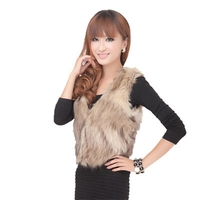Women Winter Warm Sleeveless V neck Faux Fur Vest Casual Style Slim Matching Out Wear White TA02800068