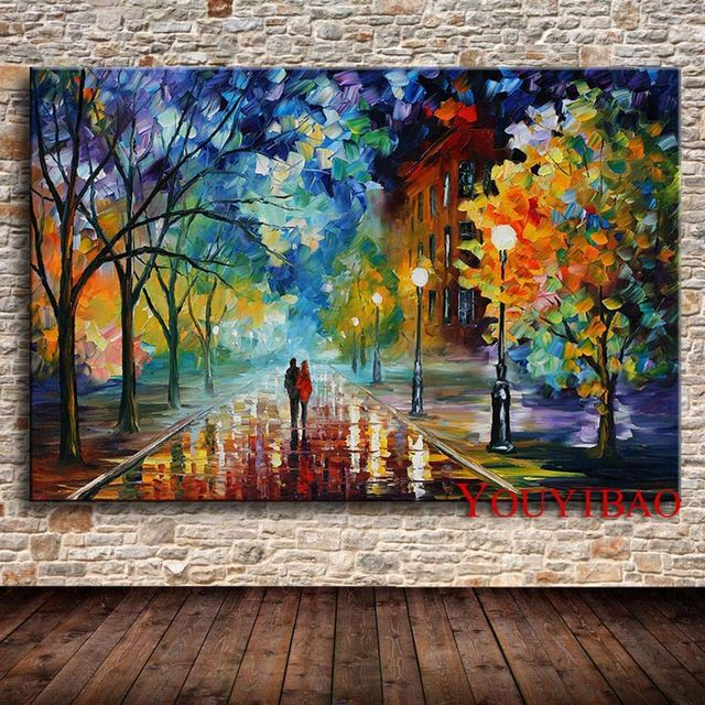 produs modern knife oil painting on canvas abstract park landscape