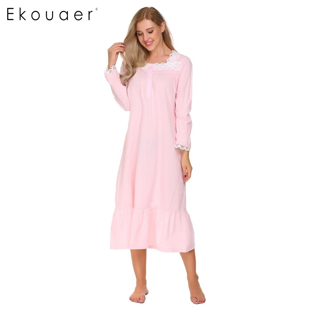 Ekouaer Elegant Solid Nightwear Women Victorian Nightgown Long Sleeve Sleepwear Lace Patchwork Ruffled Hem Night Dress Plus Size
