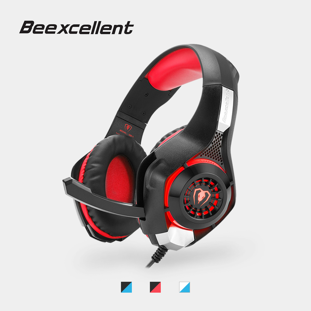 Beexcellent GM-1 Gaming Cuffie 3.5 MM USB Wired Fascia Cuffie con Microfono Luce LED Stereo Headset Gioco per PC/PS4 Gamers