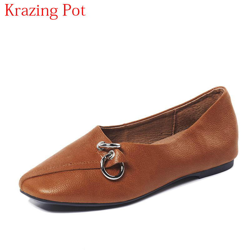 2018 Fashion Genuine Leather Pregnant Square Toe Metal Buckle Shallow Slip on Women Flats Cozy Summer Comfortable Shoes L7f1 new fashion luxury women flats buckle shallow slip on soft cow genuine leather comfortable ladies brand casual shoes size 35 41