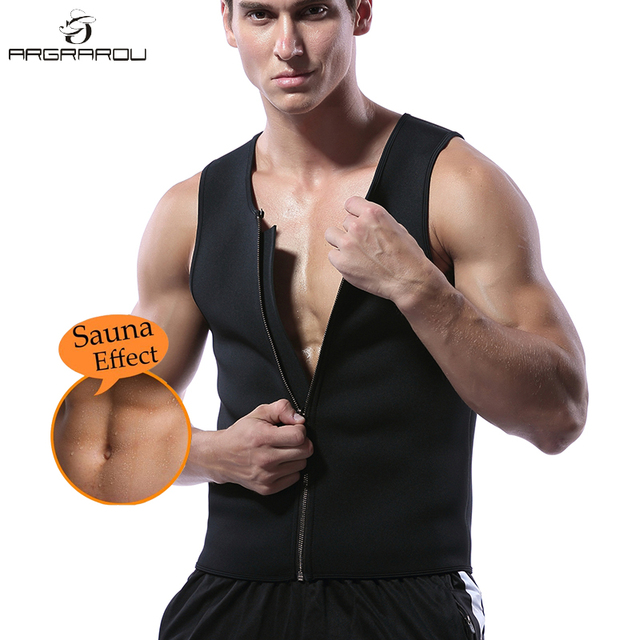 45bb9f6e29646 Mens Neoprene Sauna Waist Trainer Vest For Men Weight Loss Hot Body Shaper  Thermo Sweat Suit