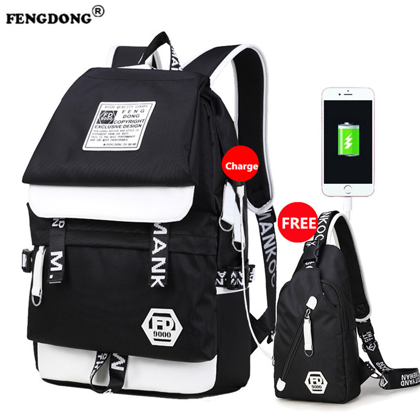 FENGDONG Waterproof Backpacks Male Designer School Bags Brand Fashion College Bag Youth Back Pack USB Charge Oxford Men Backpack fengdong men backpack oxford youth fashion brand usb charge designer back pack college bags school bag waterproof backpacks male