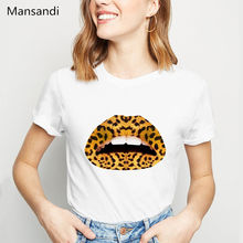 I Love Sexy Leopard Lips Illustration T Shirt women Lgbt Gay Lesbian tshirt femme  Pretty Lipstick Cheetah Makeup t-shirt