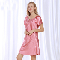 fca624244 NG089 Lady Sexy Nightwear Night Gown Brand Silk Dress Pyjama Soft Sleepwear  Nightgown Female Lingerie Robe