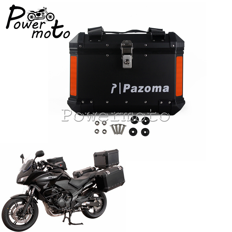 Universal Motorcycle Aluminum Black Top Case Luggage Bags Saddlebags Lockable Side Box For BMW Honda Suzuki