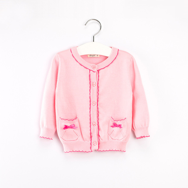 2016 do inverno do bebê do algodão camisola e criança do sexo feminino de malha cardigan Meninas suéter pullover Meninas Cardigans Blusas