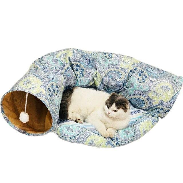 Складной туннель для кошек, для использования в помещении и на улице, тренировочная игрушка для кошек, кроликов, животных, туннелей для кошек, кроватей и туннелей
