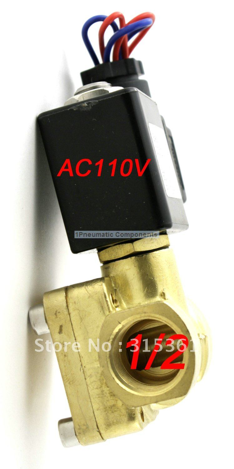 Hot Sales 1/2'' Ports 230PSi Normally Open Brass Solenoid Valve 110V AC Diaphragm High Pressure 0955305
